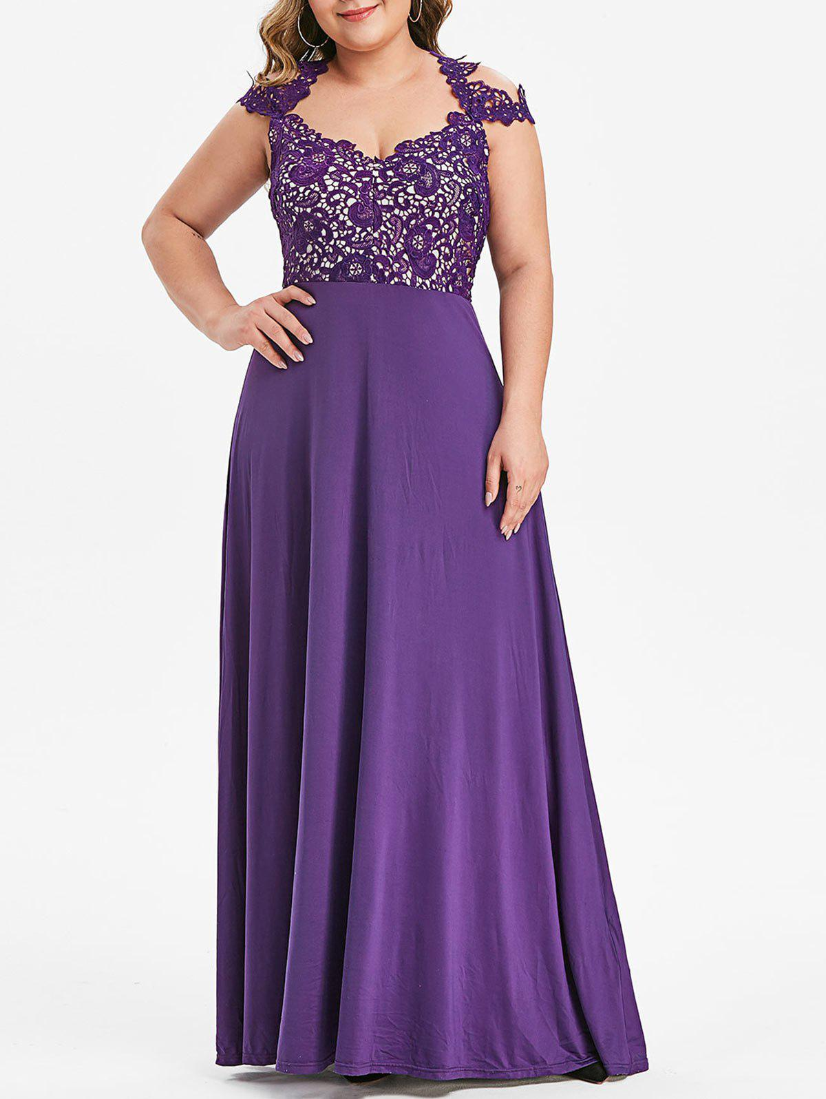 Outfits Plus Size Flower Lace Insert Cut Out Maxi Prom Dress