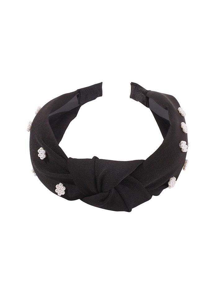 Store Faux Pearl Floral Knot Fabric Wide Hairband