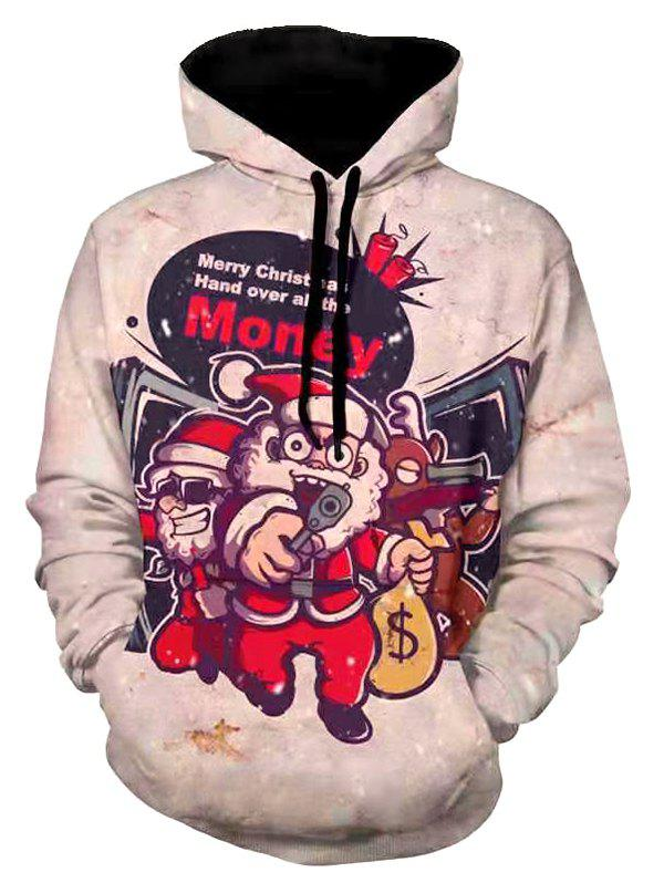Affordable Christmas Robber Santa Graphic Print Drawstring Hoodie