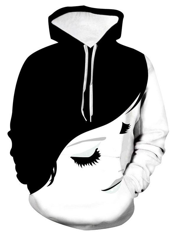 Cheap Girl Face Graphic Front Pocket Drawstring Hoodie