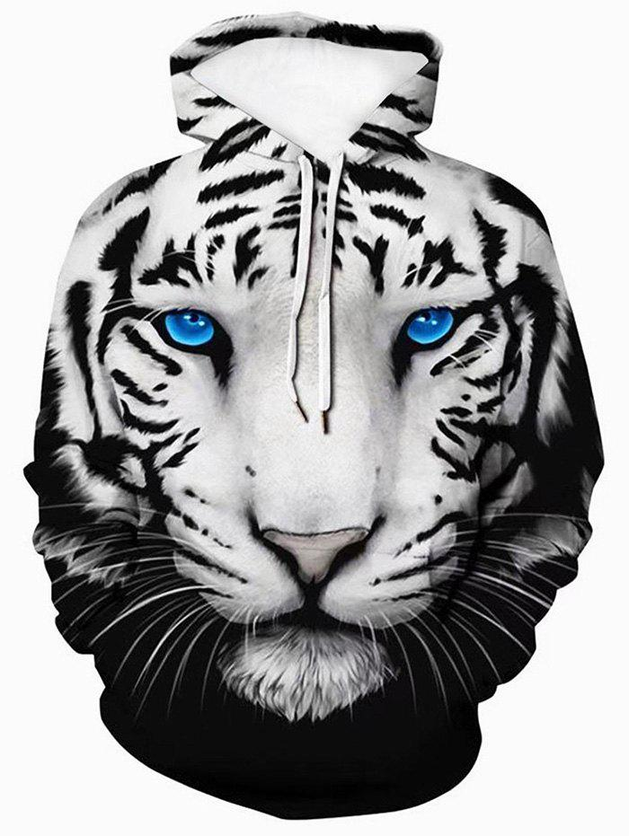 Sale 3D Tiger Graphic Front Pocket Casual Hoodie