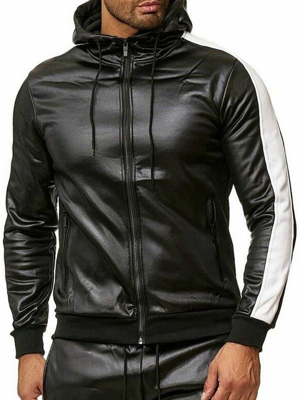 Outfits Color Spliced Faux Leather Zipper Jacket