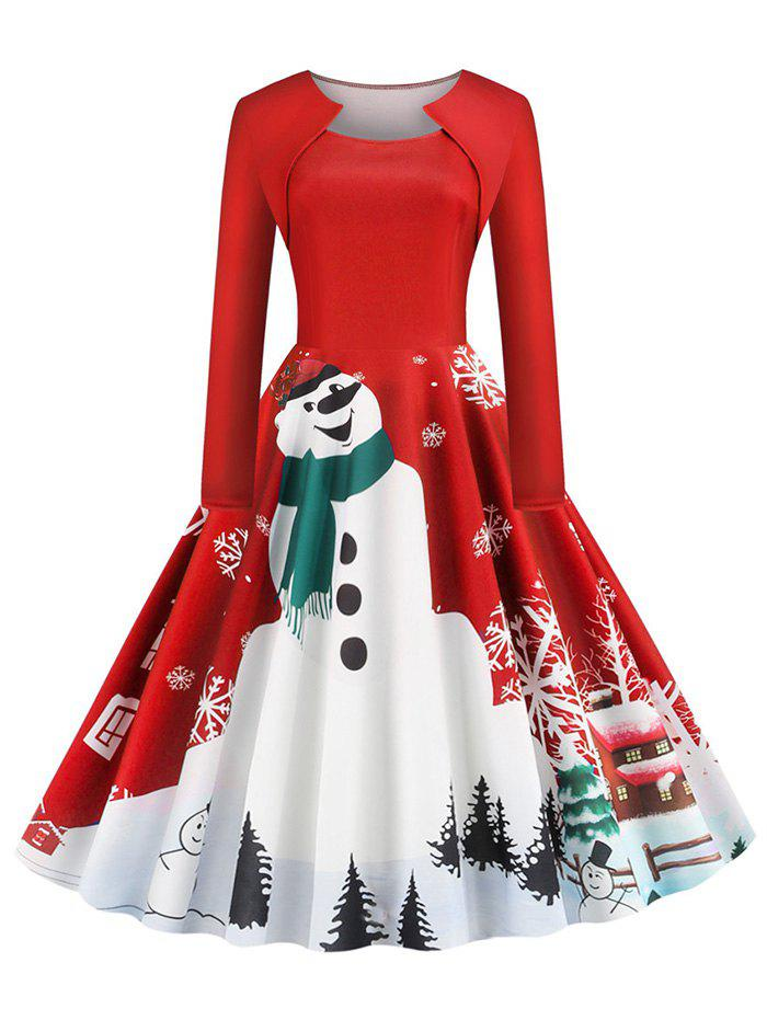 Trendy Snowman Snowflake Print Christmas Long Sleeves Dress