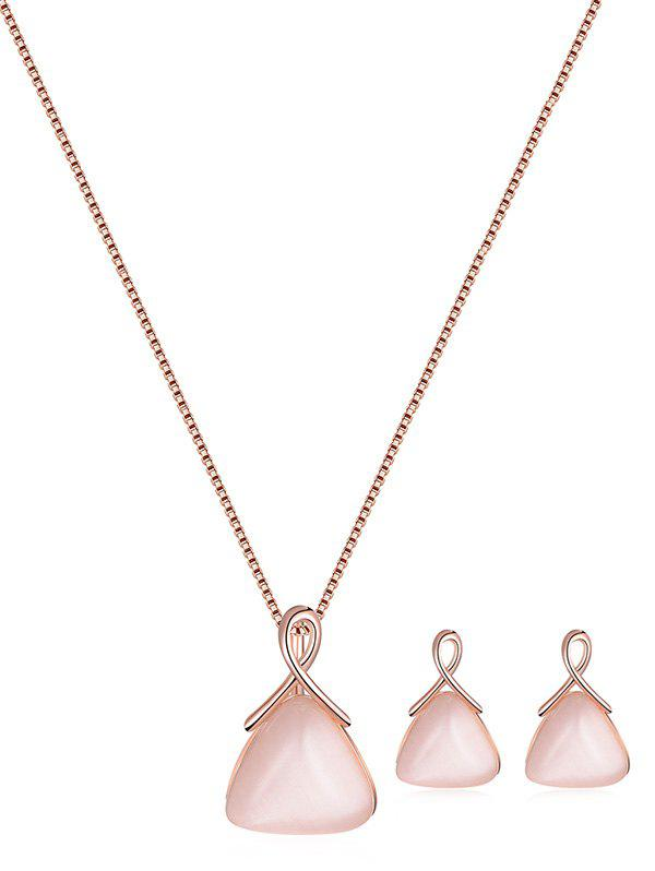 Hot Faux Opal Triangle Pendant Jewelry Set