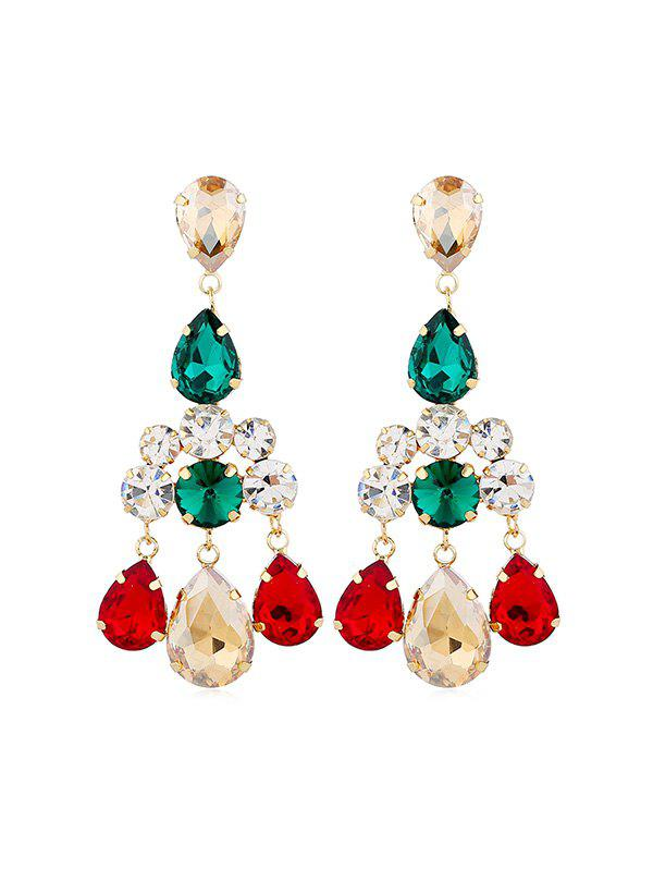 Boucles d'oreilles en strass Teardrop Chandelier Multi