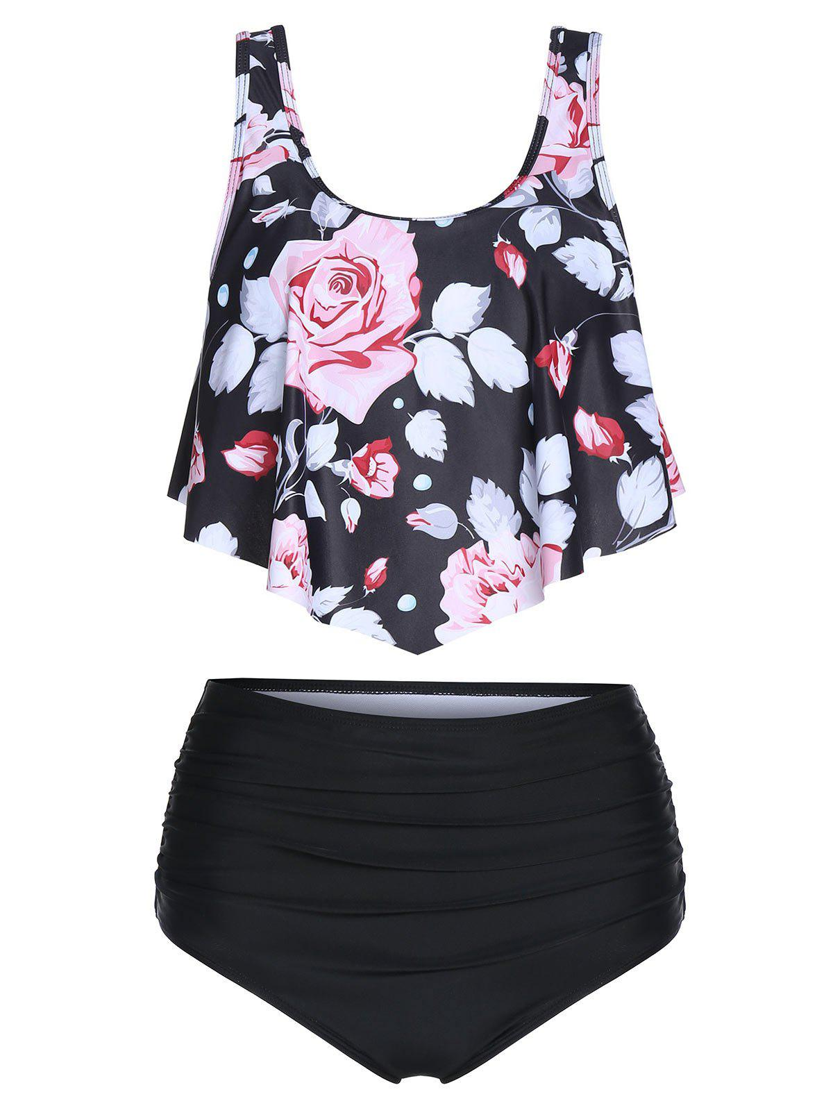Floral Print Ruched Tankini Swimsuit фото