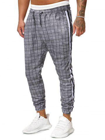 Plaid Pattern Drawstring Elastic Waist Jogger Pants