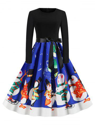 Snowman Print Christmas Belted Long Sleeves Dress