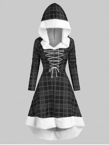 Hooded Lace Up Dip Hem Plaid Faux Fur Panel Dress