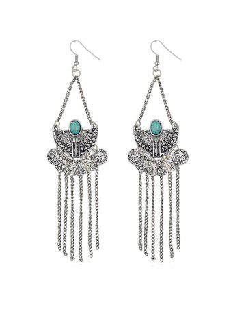 Ethnic Carved Turquoise Coins Fringe Earrings