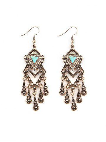 Bohemian Carved Geometric Turquoise Fringed Earrings