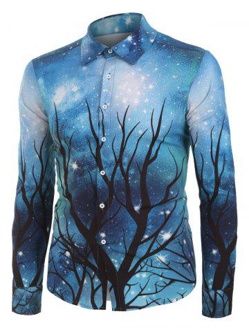 Galaxy and Tree Print Button Up Long Sleeve Shirt