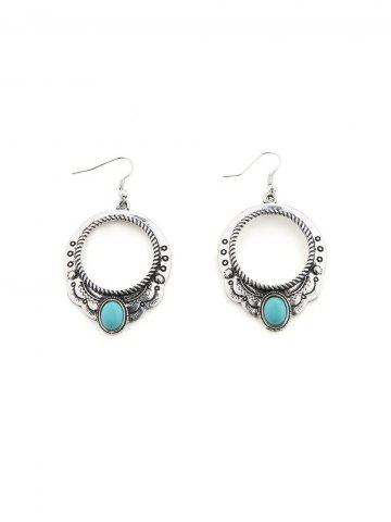 Ethnic Hollow Round Turquoise Drop Earrings
