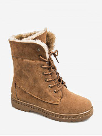 Solid Color Lace-up Design Fuzzy Boots