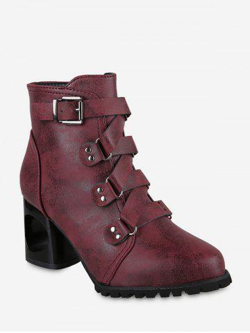 Pointed Toe Buckled High Heel Short Boots