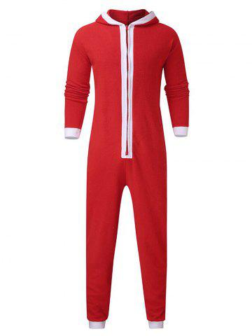 Christmas Color Spliced Zipper Hooded Jumpsuit - RED - M