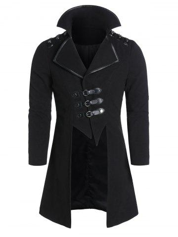 Faux Leather Buckle Strap Wool Blend High Low Coat