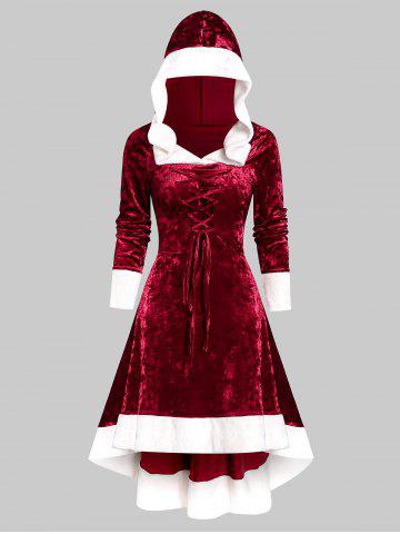 Faux Fur Trim Lace-up Hooded High Low Flannel Dress