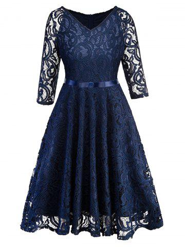 Half Sleeves Belted Lace Flare Dress