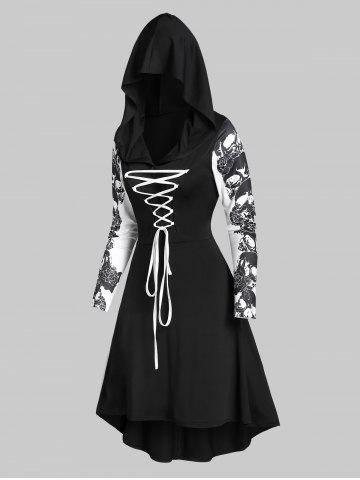 Hooded Skull Print Lace-up High Low Flare Dress