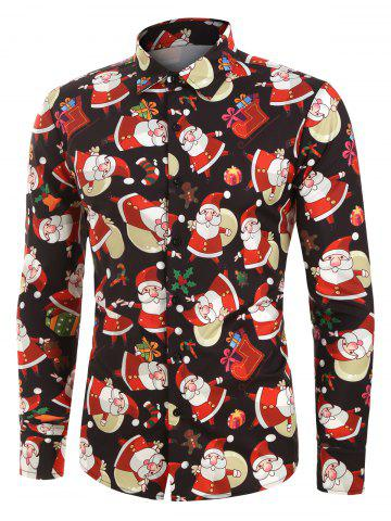 Christmas Santa Claus Pattern Long-sleeved Shirt