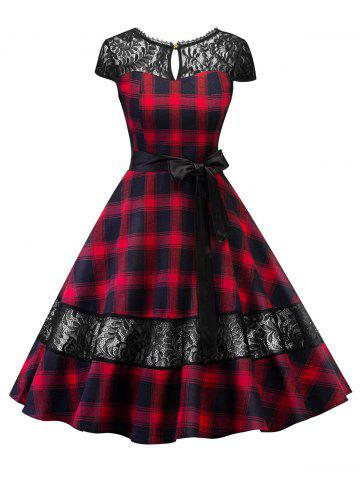Lace Panel Plaid Belted Cut Out Dress