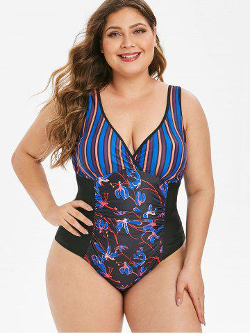 Ruched Contrast Stripes Floral Plus Size One-piece Swimsuit