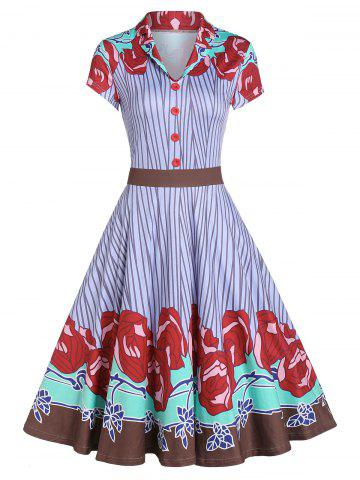 Rose Pattern Striped Button A Line Dress