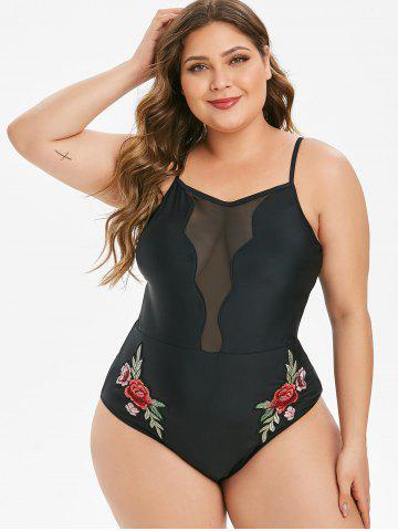 Mesh Panel Floral Embroidered Plus Size One-piece Swimsuit