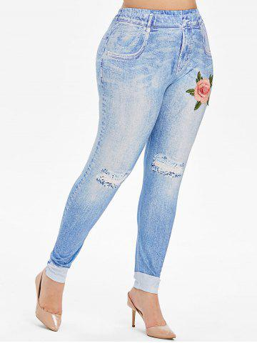 High Waisted 3D Floral Embroidered Applique Plus Size Jeggings - LIGHT BLUE - 2X