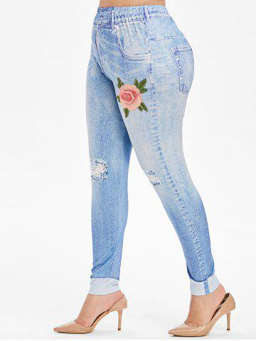 High Waisted 3D Floral Embroidered Applique Plus Size Jeggings