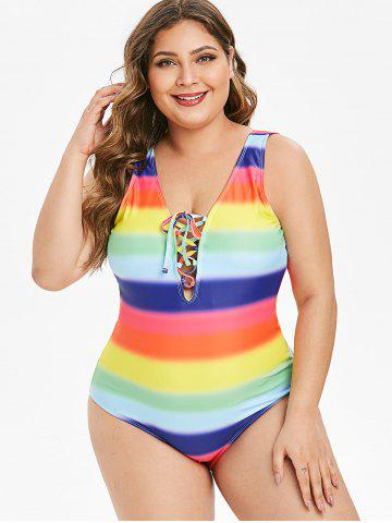 Plus Size Rainbow Tie Dye Lace Up Backless Swimsuit