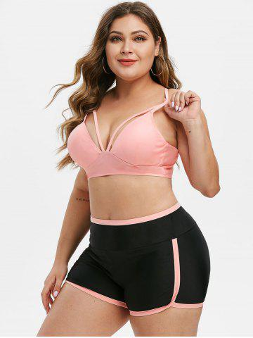 Contrast Binding Harness Strappy Plus Size Bikini Swimsuit