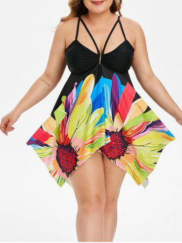 Ruched Floral Strappy Handkerchief Plus Size Tankini Swimsuit - BLACK - 1X