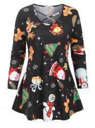 Plus Size Christmas Tree Stocking Balloon Crisscross Tunic Top -