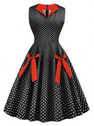 Polka Dot Knotted Sleeveless Flare Dress -