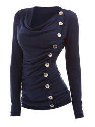 Cowl Neck Buttoned Ruched Top -