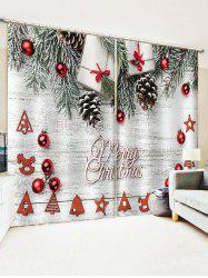 Merry Christmas Tree Gift Window Curtains -