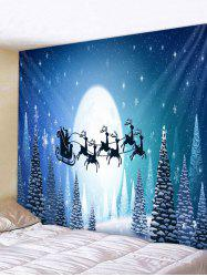 Christmas Elk Sleigh Moon Forest Print Tapestry Wall Hanging Art Decoration -