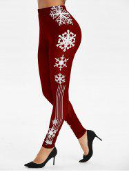 Rayure flocon de neige de Noël Imprimer Leggings - Rouge Vineux 3XL