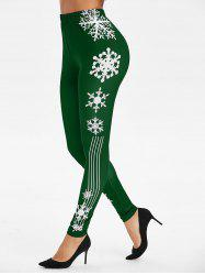 Snowflake Stripe Print Christmas Leggings -