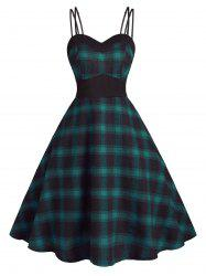 Back Zipper Strappy Plaid Plus Size Dress -
