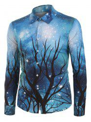 Galaxy and Tree Print Button Up Long Sleeve Shirt -