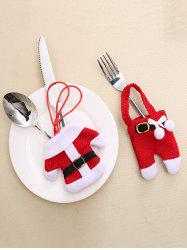 2 Pcs Christmas Decoration Costume Shape Knives and Forks Cover Bags -