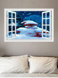 Christmas Snowman Window Print Decorative Wall Art Sticker -