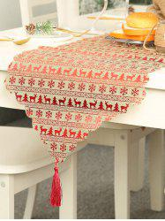 Christmas Snowflake Pattern Tasseled Table Runner -