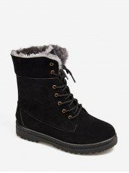 Solid Color Lace-up Design Fuzzy Boots -