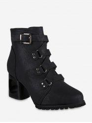 Pointed Toe Buckled High Heel Short Boots -