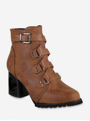 Pointu Buckled talon haut court Bottes -
