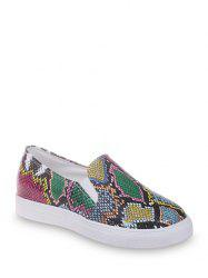 Snakeskin Print Slip On Casual Shoes -